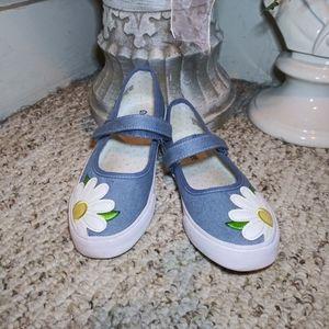 EUC Gymboree Girl's Chambray Daisy Mary Jane Shoes